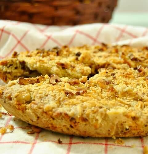 бърз хляб с орехи, синьо сирене и билки