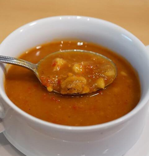 супа от кестени, печени чушки и тиква