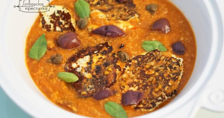 Тиганици с извара в доматено-гъбен сос