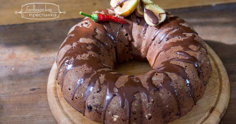 шоколадов кекс със смокини и люти чушки