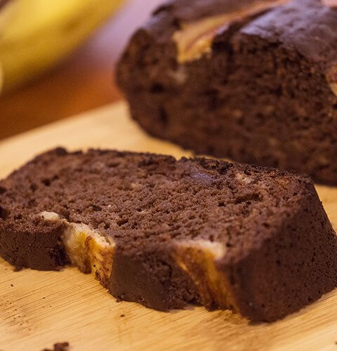 шоколадово бананов хляб парче