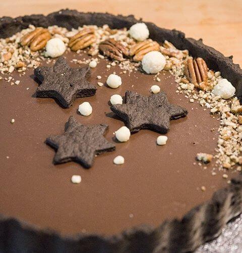 Шоколадов тарт с блат от брашно от рожков