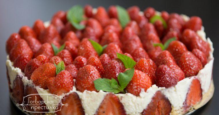 Кокосов чийзкейк с пресни ягоди