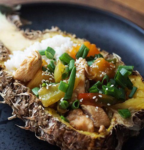 лепкаво пиле терияки в ананас